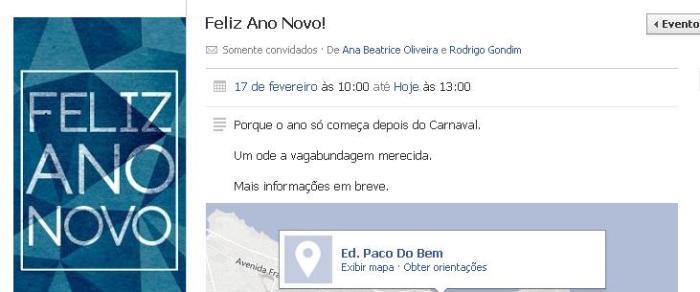 Nesse evento no Facebook, os amigos combinavam um encontro para comemorar o novo ano. Foto: Reprodução do Facebook